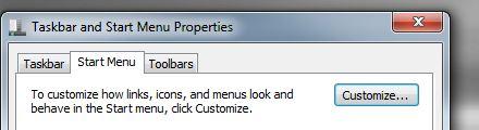 start menu customize