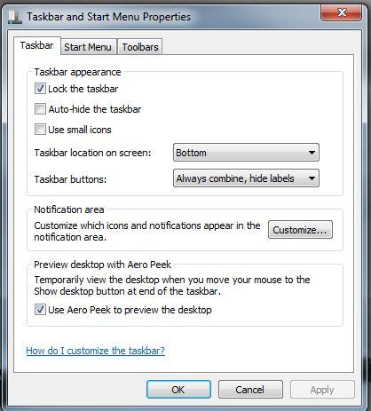 start menu run enable