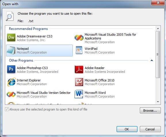 View Error Log Windows 7: Change File Assocation In Windows 7