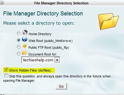 File manager enable hidden files