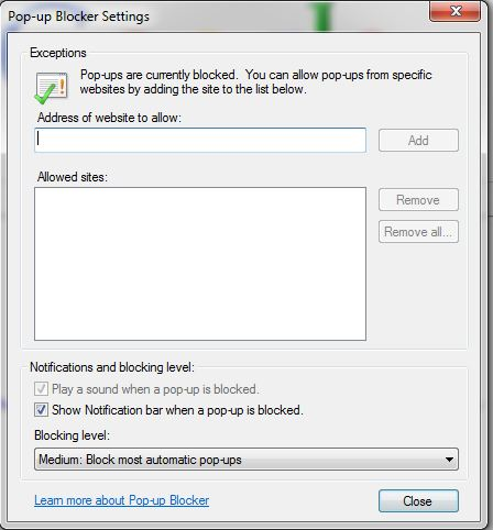 POP UP BLOCKER SETTINGS INTERNET EXPLORER 9 and 10