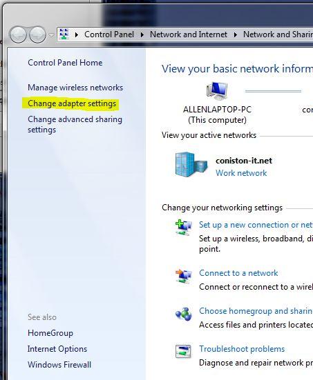 change adapter settings in windows 7