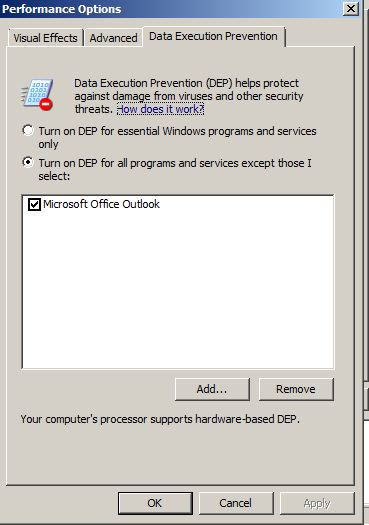 outlook 2003 disable dep