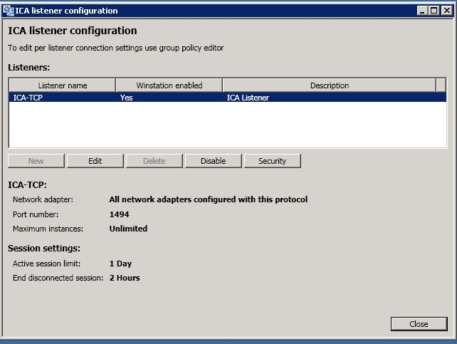 ICA Listner Configuration