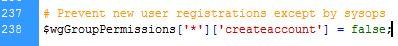 mediawiki disable registration