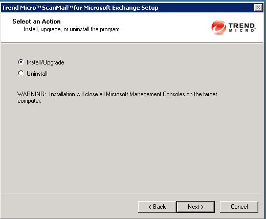 Trend scanmail install Exchange 2010