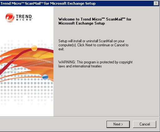 install scanmail welcome screen