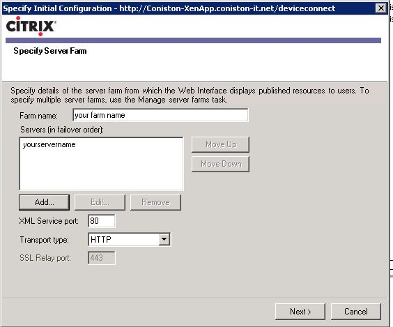 ipad server farm name citrix