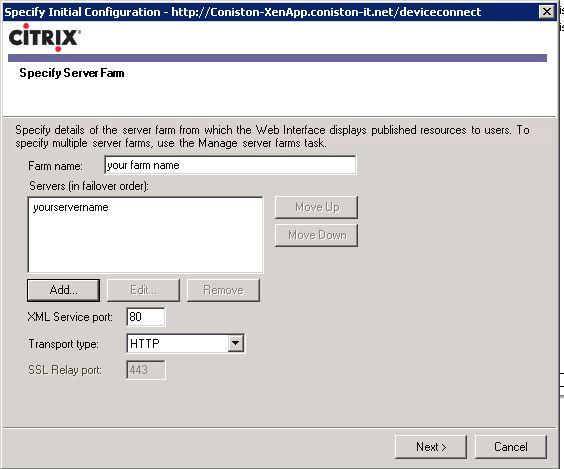 ipad server farm name citrix