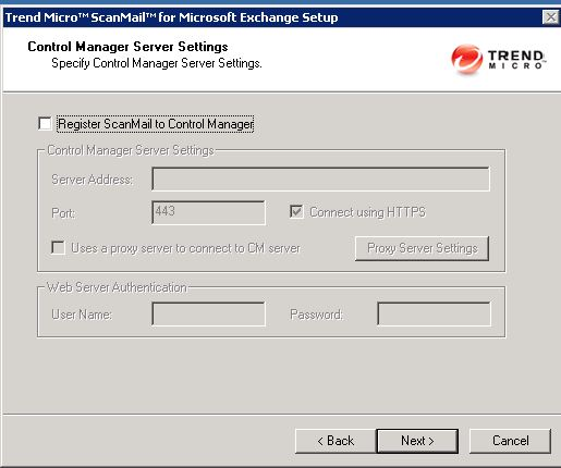 scanmail control manager