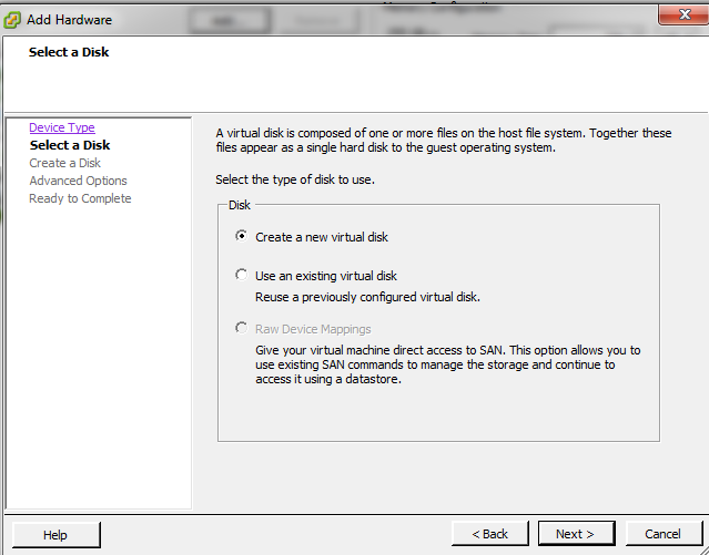 create a new virtual disk
