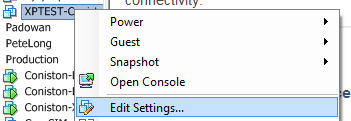 edit virtual machine settings