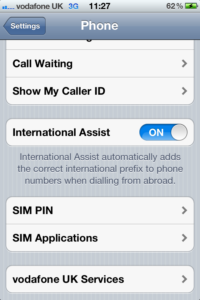 Turn off International Assist on iPhone 4s