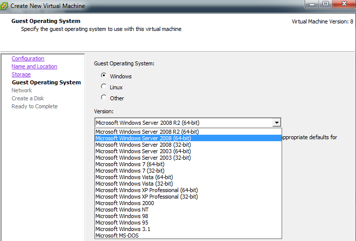 Select virtual machine operating system