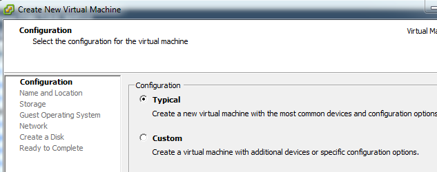 Typical or custom virtual machine