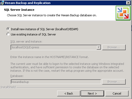 Veeam 6 SQL or local instance