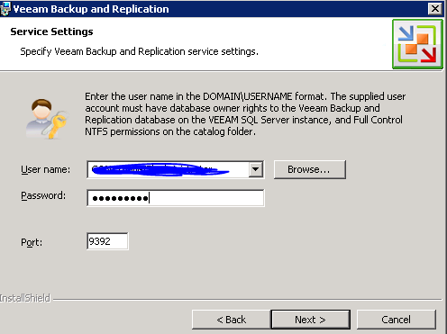 Veeam 6 Service credentials