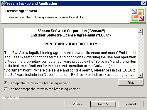 Veeam 6 accept license agreement