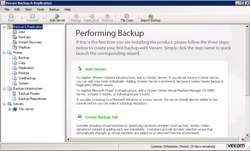Veeam 6 console screen