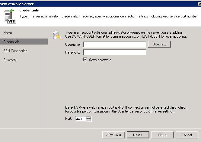 Veeam 6 enter server details