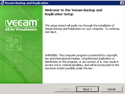 Veeam 6 welcome screen