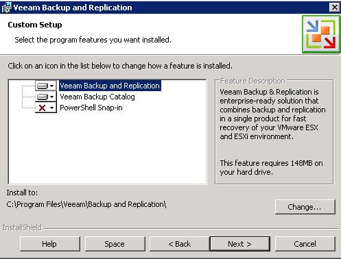 Veeam install options