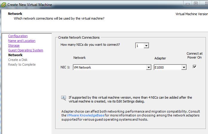 Virtual machine network properties