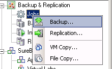 create a veeam backup job
