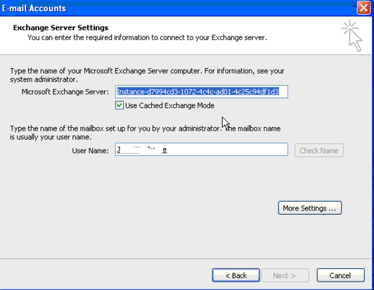 outlook 2003 connect to instance client