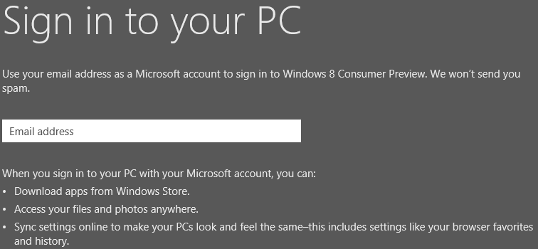 Email address in windows 8