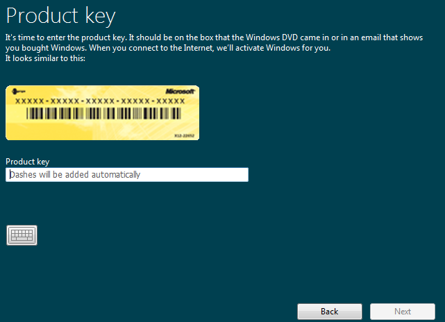 Enter product key for windows 8