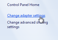 change adapter settings windows 8
