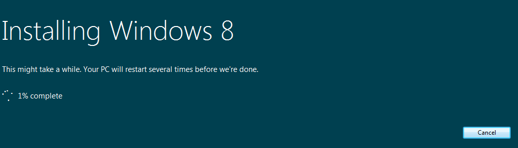install windows 8 screen