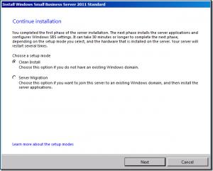 SBS 20011 install migration