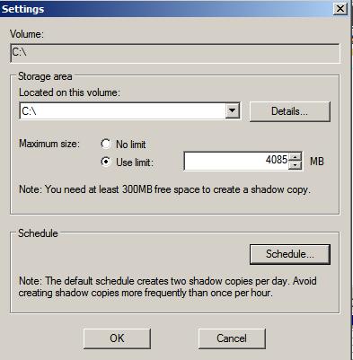 set shadow copies schedule