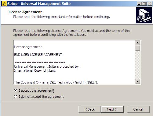 Accept IGEL license
