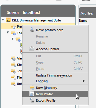 Create a profile in Universal Managment Suite