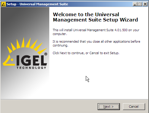IGEL welcome screeen