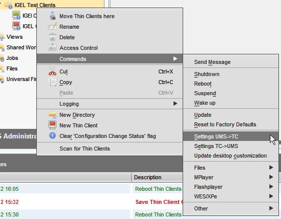 apply UMS settings to IGEL TC