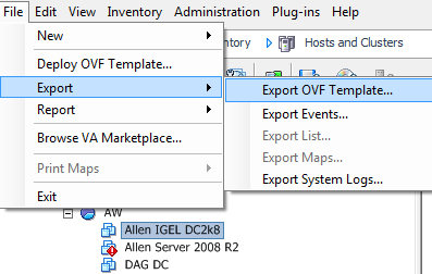 export a virtual machine as an OVF