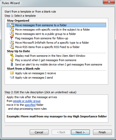 outlook 2010 rules and terms