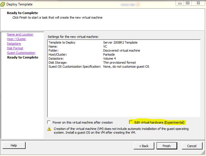 Edit Virtual Hardware Settings