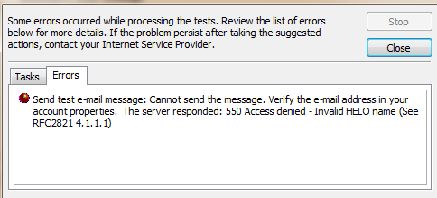 The Server Responded 550 Access Denied - Invalid HELO Name See RFC 2821 4.1.1.1