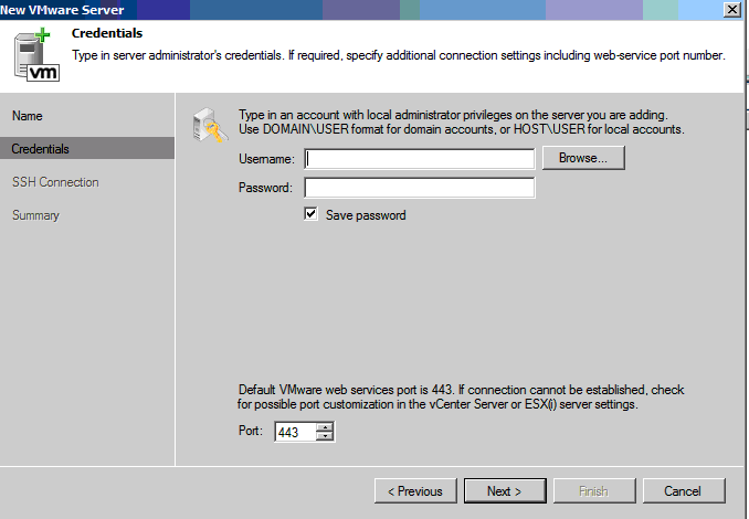 domain credentials for veeam virtual centre