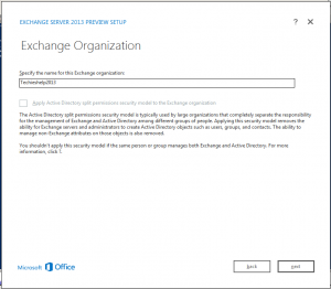 exchange 2013 orginization