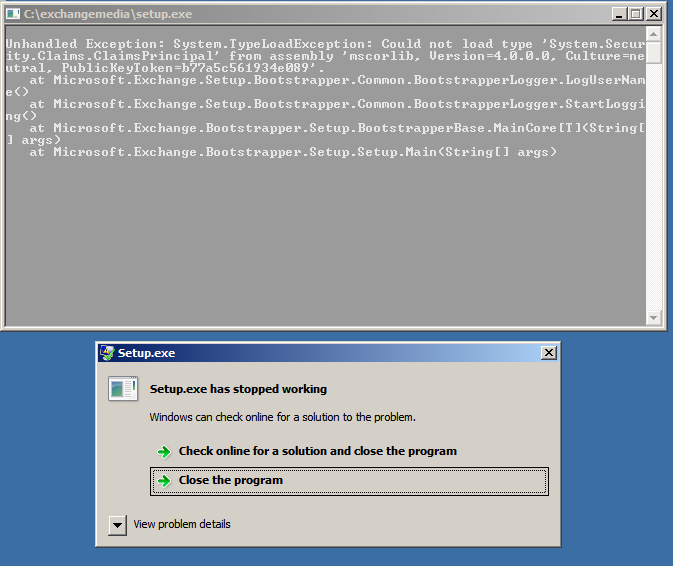 exchange 2013 unhandled exception