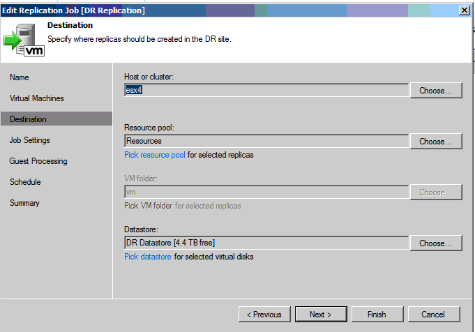 selecting DR host in veeam