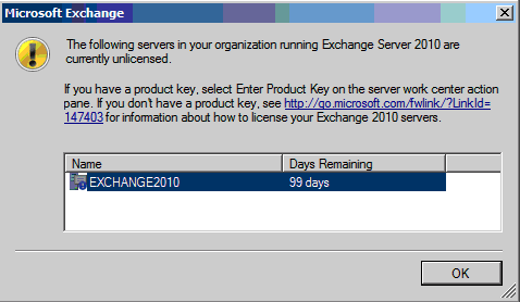 Install Exchange 2010 license