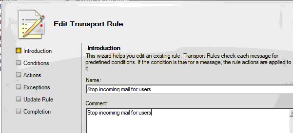 create exchange rule to block external mail