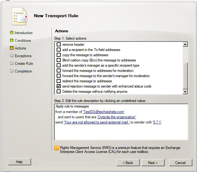 setup rule stop stop external email in exchange 2010